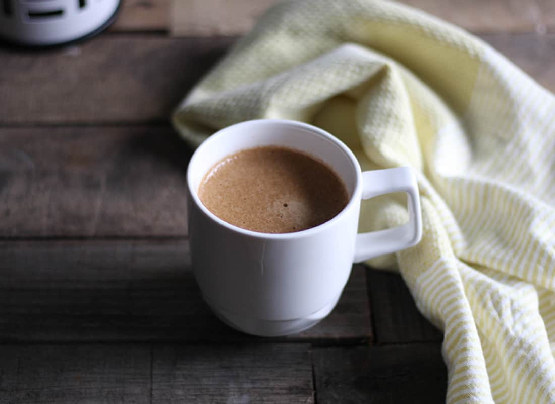 Click through to get the recipe for this caffeine free, dairy free Mocha Latte.