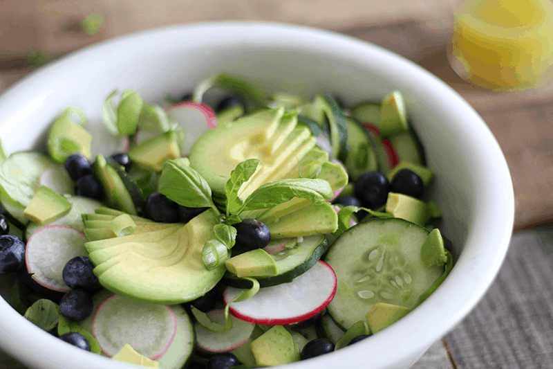 Avocado, Blueberry, Cucumber Salad