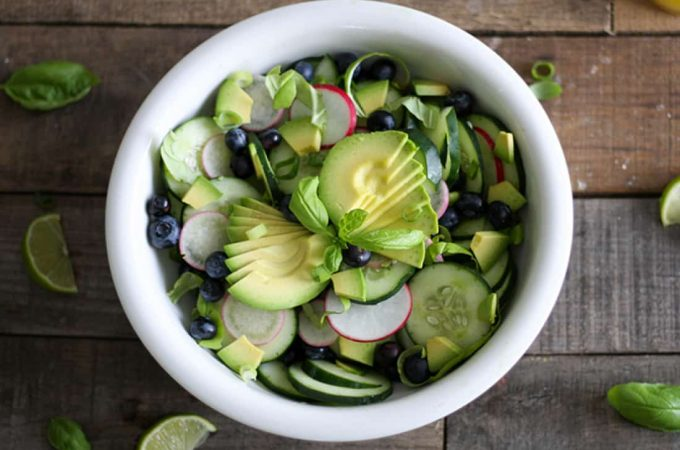 Get the recipe for this healthy Cucumber Avocado Salad