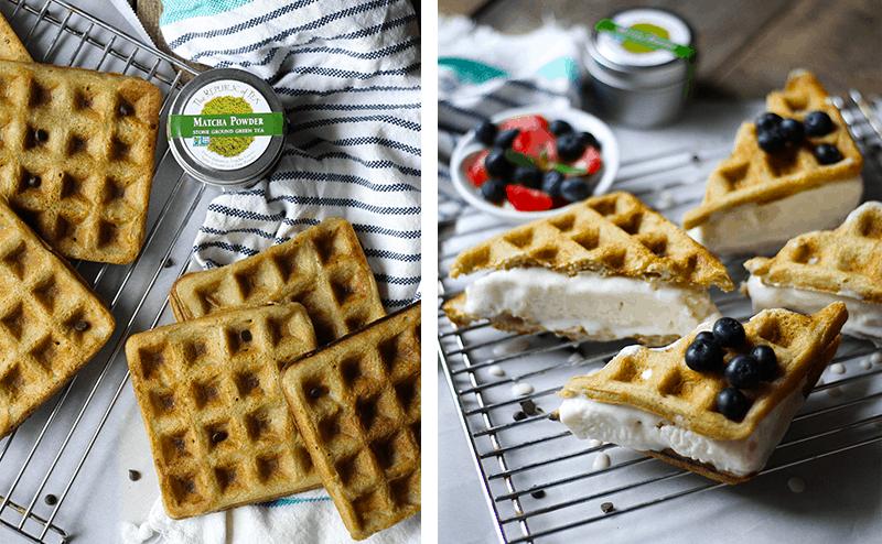 Matcha Waffle Ice Cream Sandwiches - gluten free, grain free, dairy free