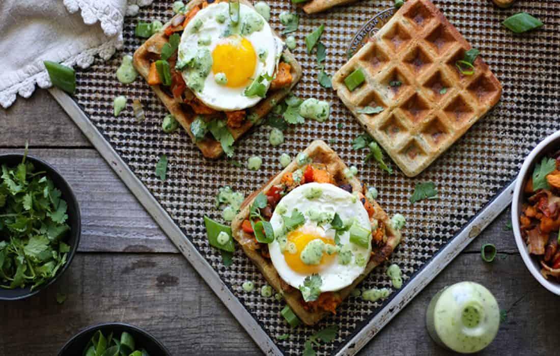 Savory Zucchini Waffle Breakfast Sandwiches (Gluten Free, Nut Free)