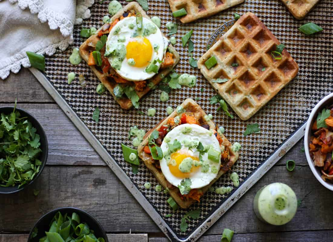 Get the recipe for these gluten and grain free Zucchini Waffle Sandwiches