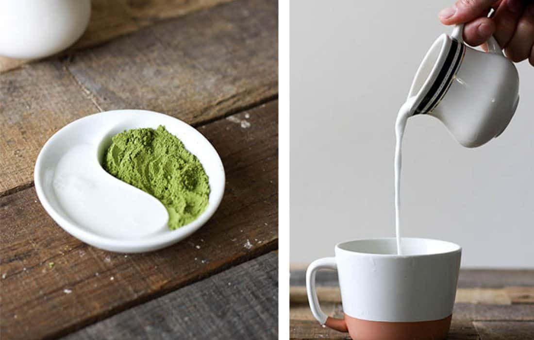 Get the recipe for this dairy free, AIP friendly Matcha Tea Latte.