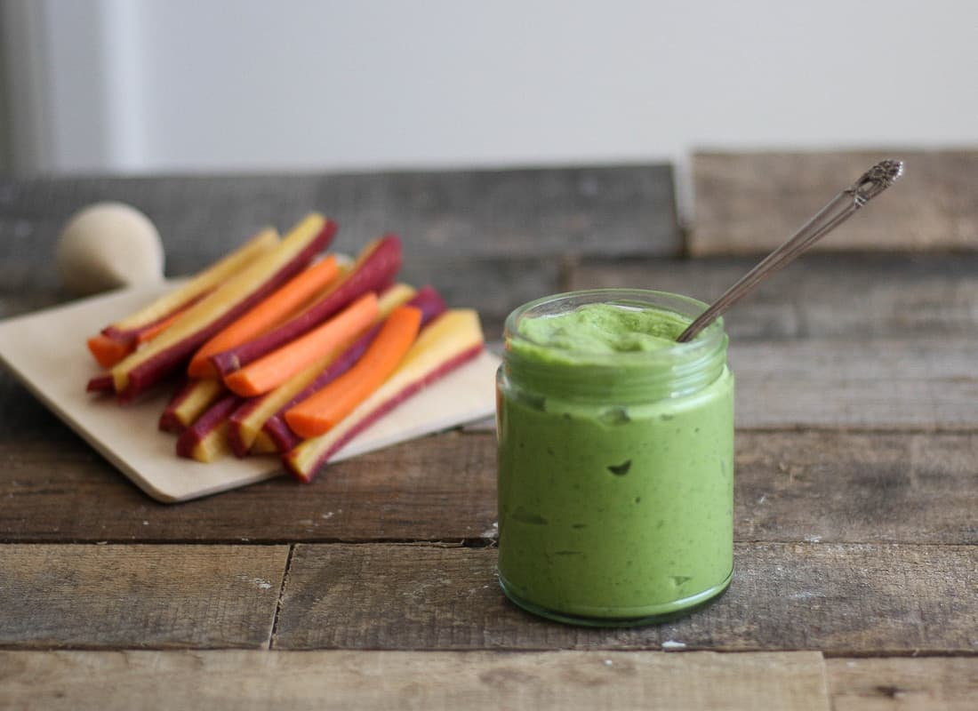 Get the recipe for this egg free, soy free, & AIP friendly Cilantro Avocado Mayo.