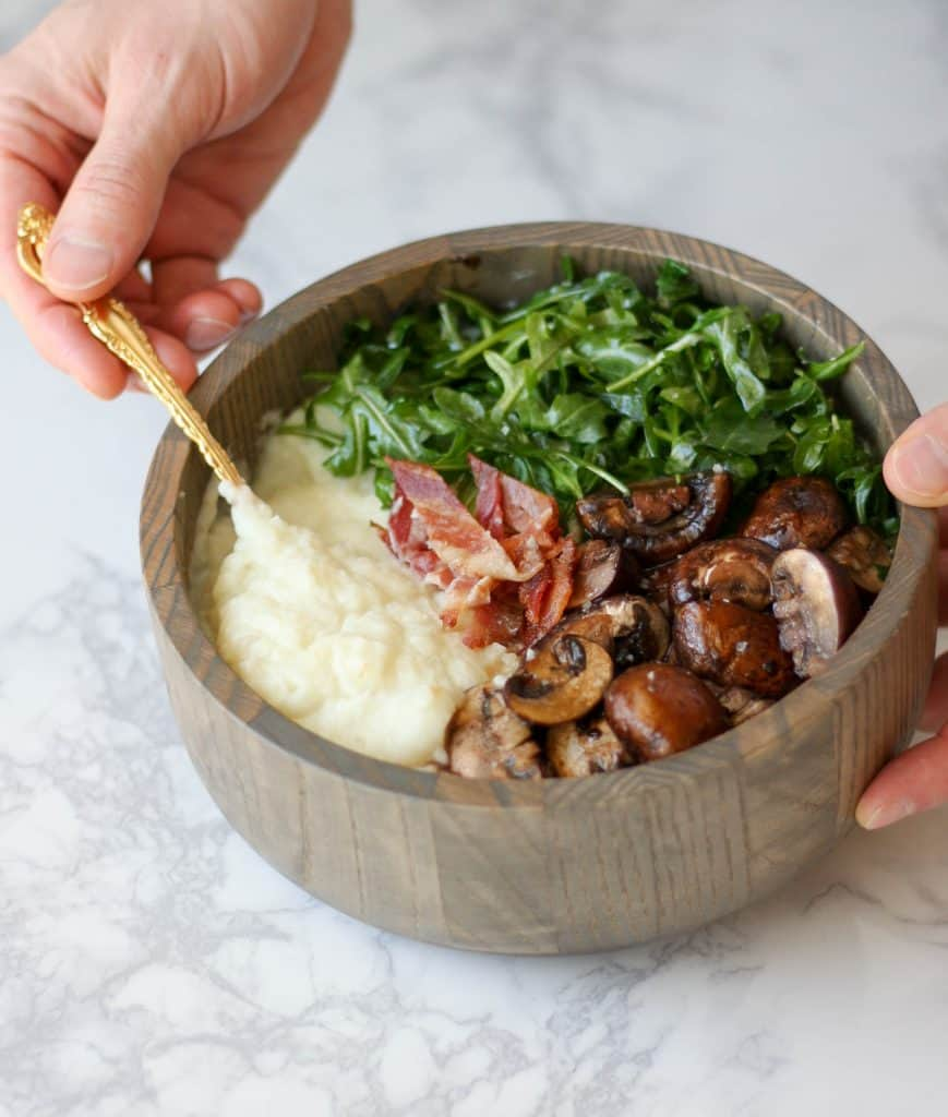 Mashed Cauliflower Breakfast Bowl - low carb, aip