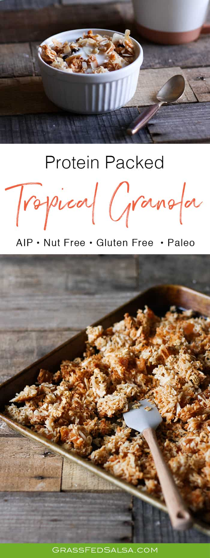 AIP Tropical Protein Granola Recipe (nut free, grain free, gluten free)
