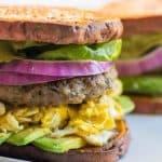 A Whole30 breakfast sandwich with sweet potato buns