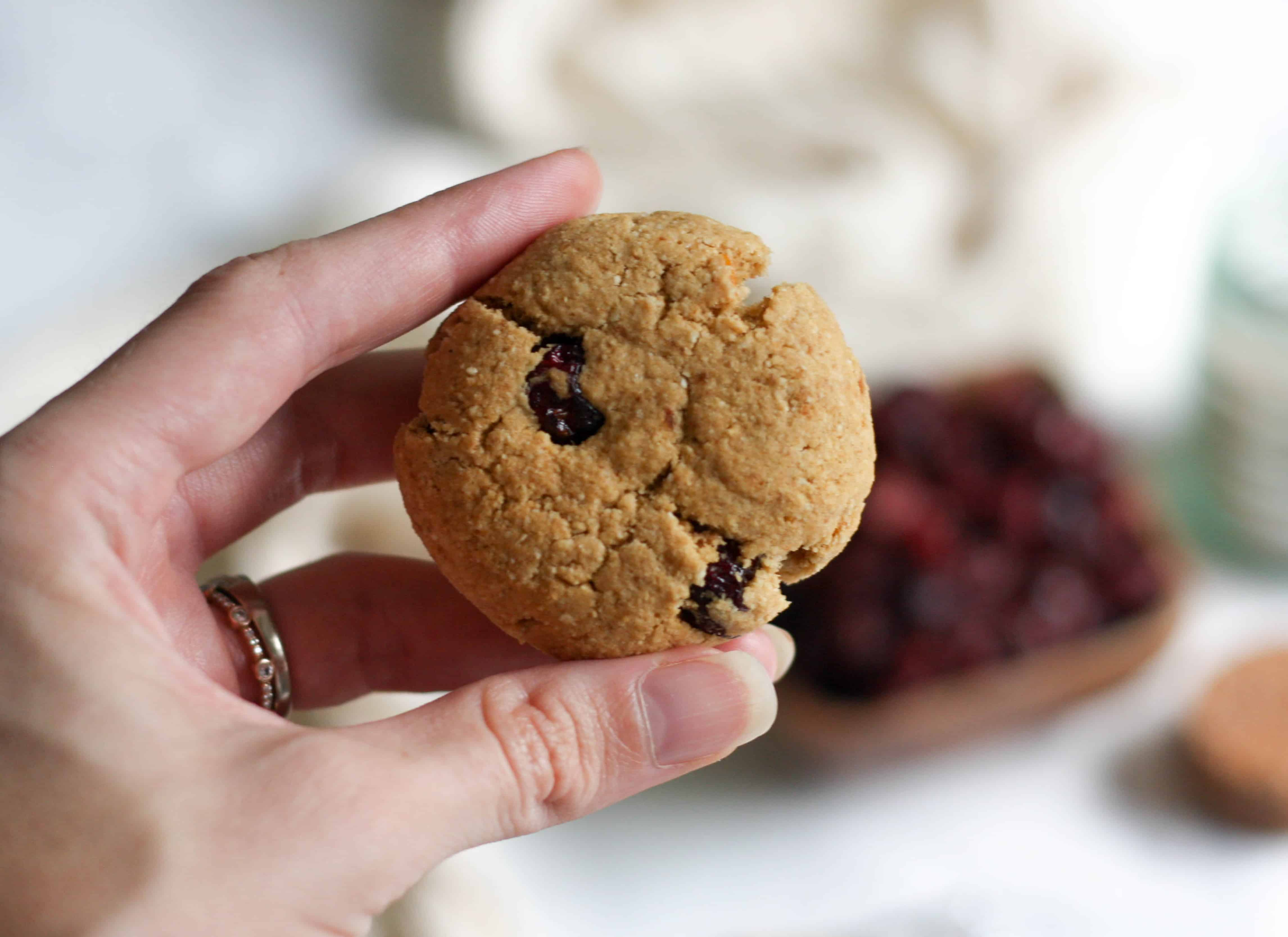 Paleo and AIP Cranberry Orange cookies! A healthier version of the classic holiday treat. These Cranberry Orange Cookies have a lightly sweet buttery taste with a fluffy inside and crunchy outside. Grain free, gluten free, AIP and paleo friendly! Simple to make in 30 minutes.