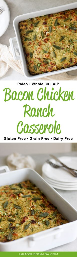 This AIP Bacon Chicken Ranch Spaghetti Squash Casserole is my favorite make ahead meal. It's dairy free, gluten free, Paleo, AIP, and Whole 30 friendly. Get the recipe at GrassFedSalsa.com!