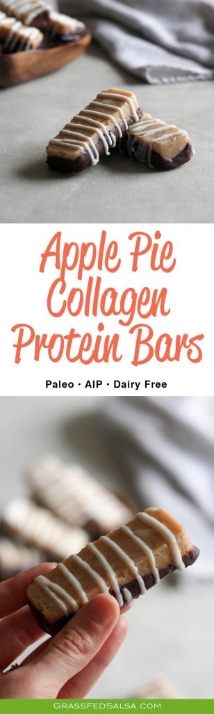 These AIP Apple Pie Collagen Protein bars are low in sugar, high in protein, and taste like a candy bar!