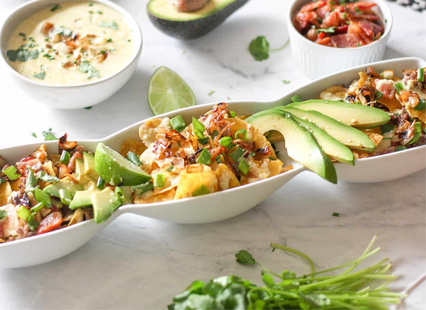 These Bacon Cheeseburger Nachos are tasty enough to share as an appetizer, and healthy enough to eat for dinner. #paleo #AIP #dairyfree #whole30