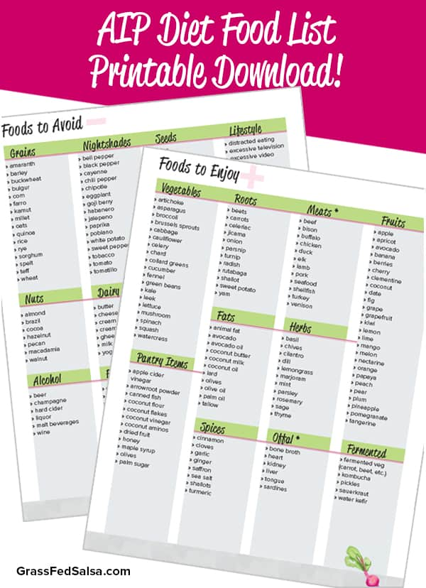 What is the AIP Diet (aka the Autoimmune Protocol or Autoimmune Paleo diet)? Plus, a free printable AIP Diet Foods list!