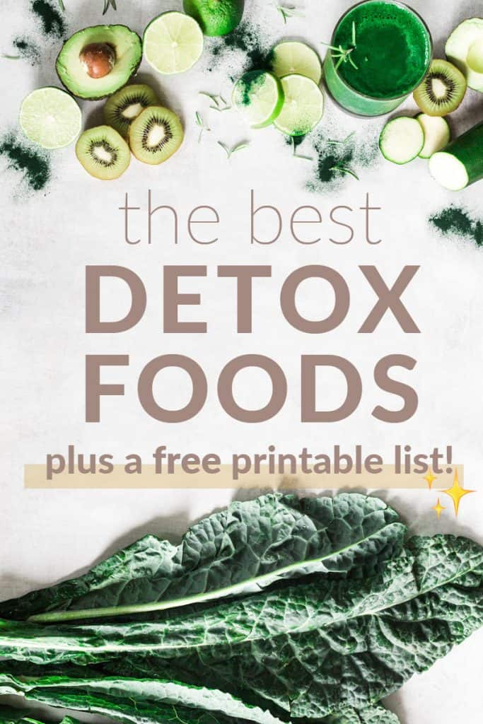 Fruits and vegetables on a white table. Best detox foods listed below.