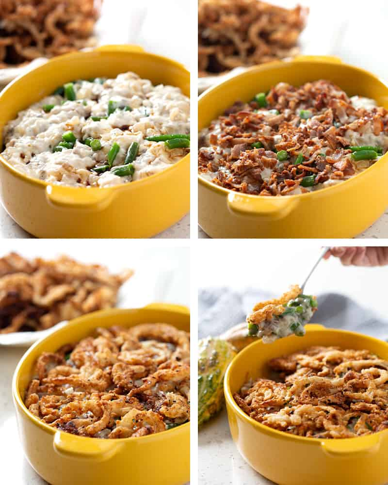A collage of images showing the layers of how the Green Bean Casserole is made.