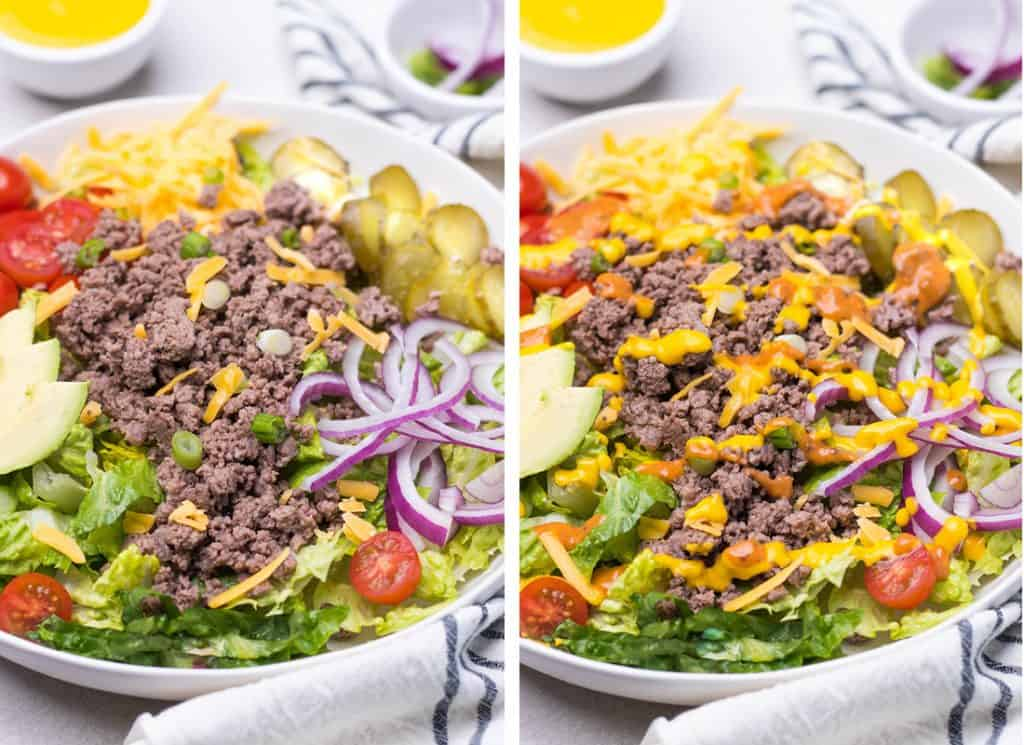 A collage image of two burger bowl salads, one without dressing, and one with.