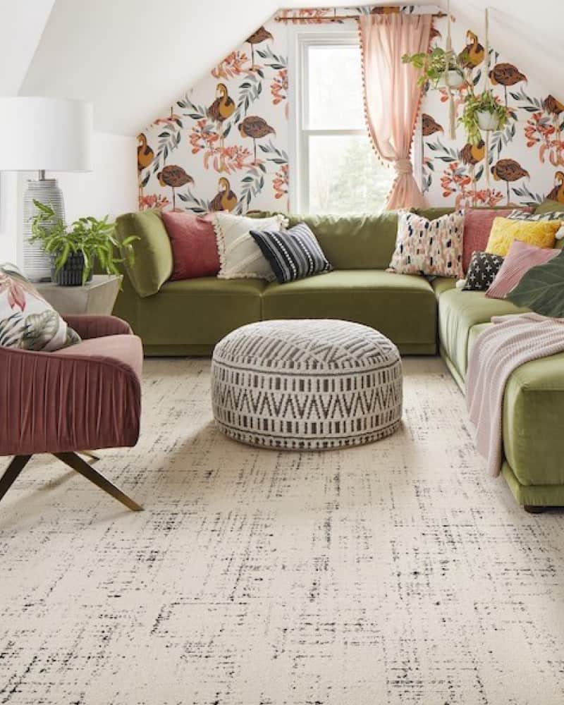 Flor has non toxic carpet tiles that can be placed together to look like a seamless rug.