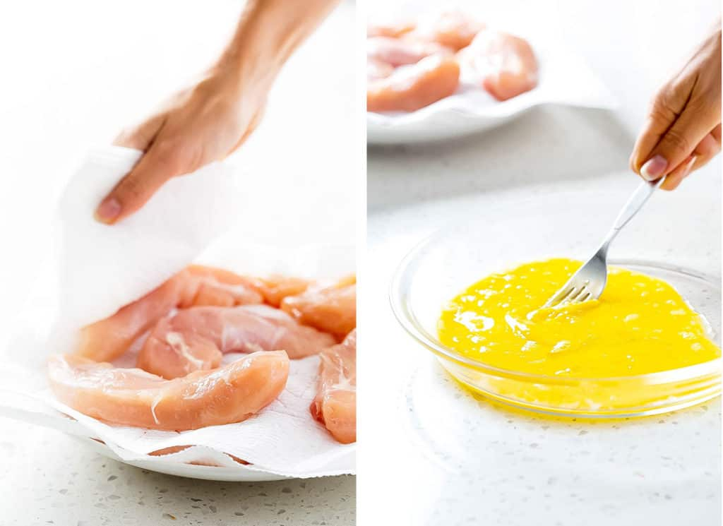 Chicken tenders on a white plate being patted dry, and another image of a shallow bowl of egg being whisked.