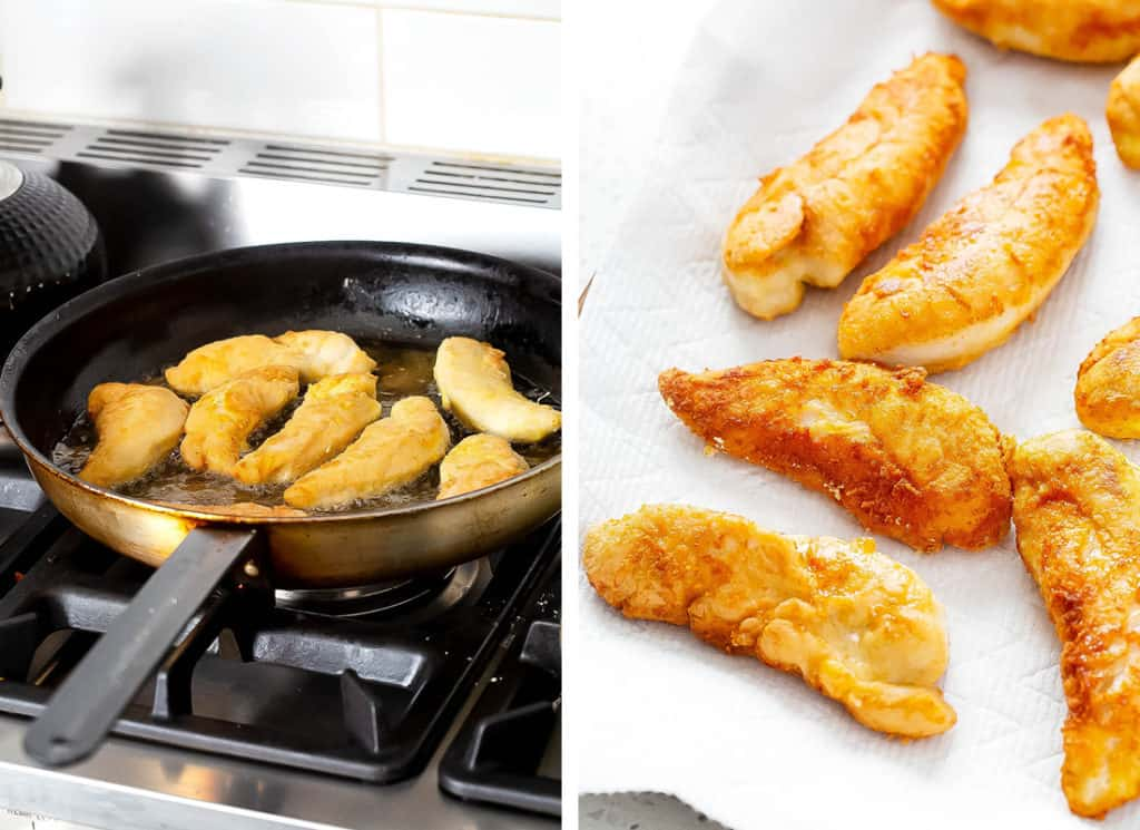 A collage of photos showing the buffalo chicken tenders being fried in a skillet, and another showing the fried chicken tenders on a paper towel to absorb excess grease.