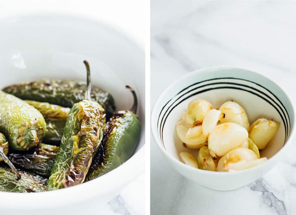 A collage of 2 photos. on the left is a bowl of charred, broiled jalapenos with blistered skins. The right image is roasted garlic cloves.